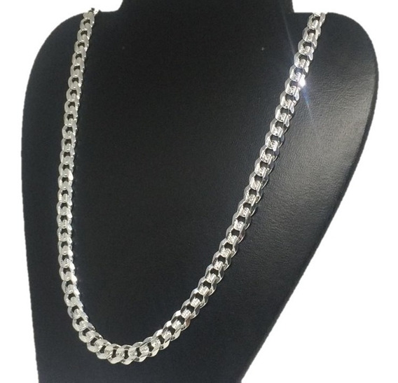 Cadena Gruesa Plata 925 Diamantada Tejido Cubano C180 60cm