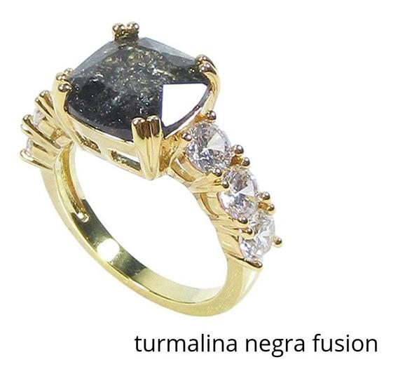 Anel Semijoia Feminino Quadrado Pedra Fusion Banho Ouro