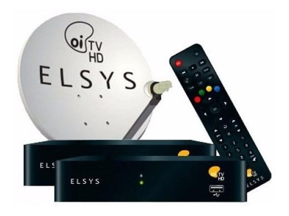 Kit Oi Tv Livre Hd Elsys Com 2 Receptores+1antena Lnbf Duplo