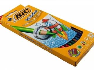 Bic Evolution Colores Mina + Gruesa + Sacapunta Gratis