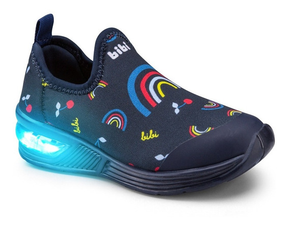 Tênis Infantil Bibi De Luz Space Wave Fem Marinho Estampado