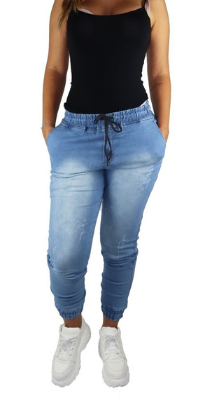 Calça Jogger Feminina Jeans Camuflada Punho Elastico Lycra