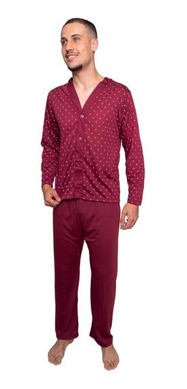 Pijama Masculino De Botao Blusa Comprida Inverno Calça Frio