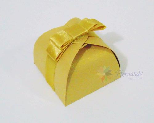 10 Caixinhas Bem Casado Ouro Metálico Com Laço Luxo