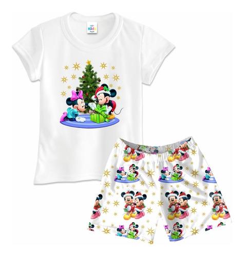 Pijama Niña Short Navidad Navideñas Mickey Personalizada