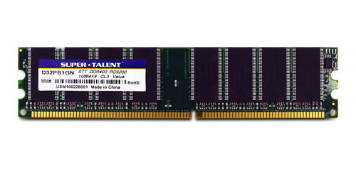 Memoria Ram 1gb Super Talent Ddr400 64x8 No Heatsink D32pb1gn