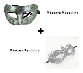 Kit Máscara Feminina Cinza E Masculina Fantasia Sexy Mod3