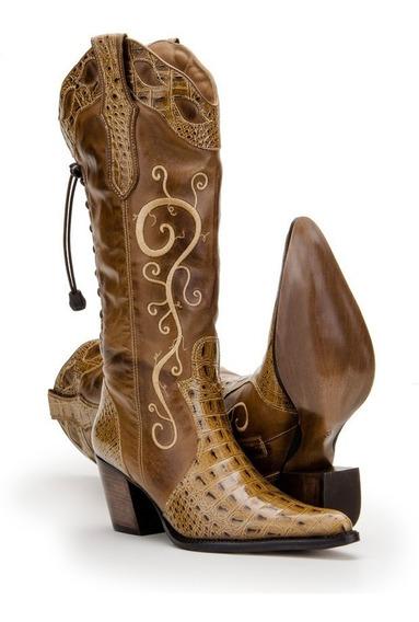 Bota Montaria Country Feminina Texana Couro Nobre 4country