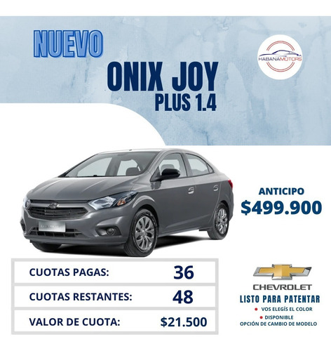 Chevrolet Onix Joy Plus 1.4 - $499.900 - Adjudicado!!!