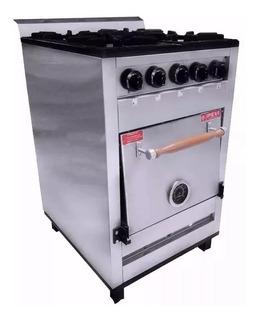 Cocina Industrial Pevi 4 Hornallas 55 Cm Ac Inox Hor Pizzero