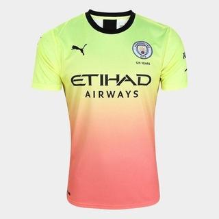 Camisa Do Manchester City Amarela Rosa Colorida Nova 2020