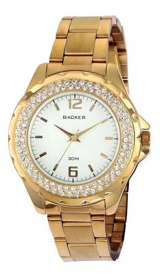 Relógio Backer Feminino Dourado Com Cristais 1476145f