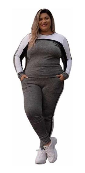 Conjunto Feminino Plus Size Blusinha Calça Moda Grande Gg Xg