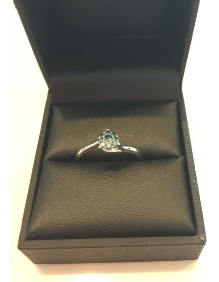 Anillo Oro Blanco 9 K Con Diamante Natural Azul 0.17 Ct
