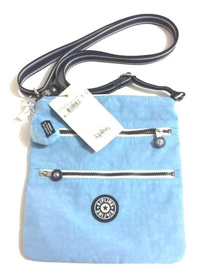 Bolsa Cartera Kipling Azul Claro 100% Original Keiko Hermosa