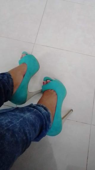 Bonitos Zapatos Boca De Pescado Menta Talla 4.5 Lady Paulina