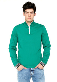 Long Sleeve Zip Polo - Tommy Hilfiger - 1218696 - Verde