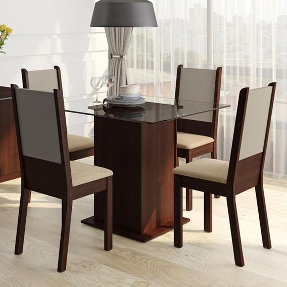 Sala De Jantar Madesa Isis Mesa Com 4 Cadeiras - Tabaco
