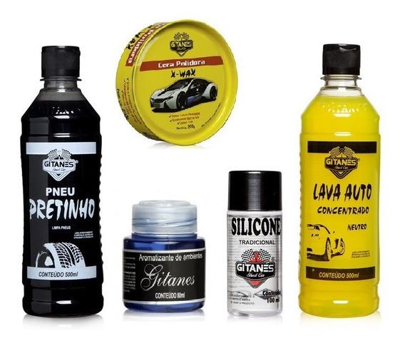 Kit Limpeza Carros Moto Shampoo+ Pretinho +silicone + Cera