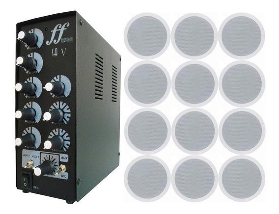 Kit 12 Caixa Som Arandela Embutir + Amplificador Setorizador