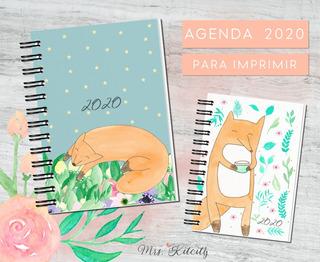 Agenda 2020 Para Imprimir Pdf Diseño Zorros