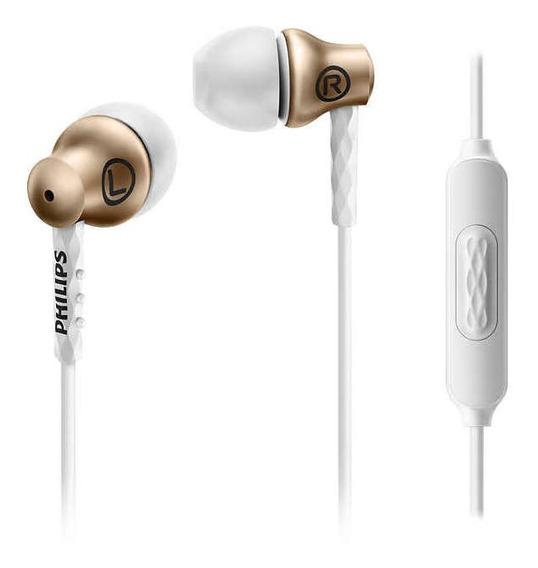 Fone C/ Microfone Philips She8105 Intra- Auricular Dourado