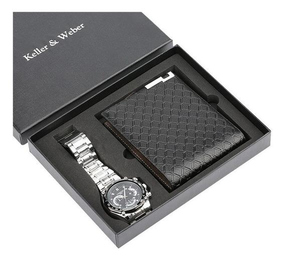 Homens Dom Definir Quartz Relógio + Carteira Com Caixa Dom R