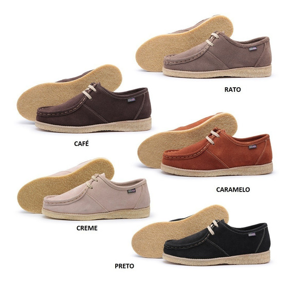 Sapato London Style Cacareco Solado Crepe De Camurça