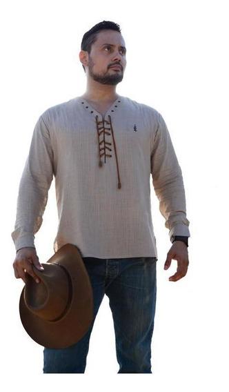 Camisa De Lino Vaquera Hombre Manga Larga Camisa De Moda