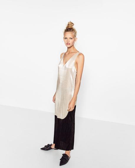 Vestido Zara De Lame Plisado Bicolor
