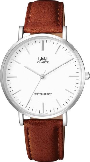 Reloj Q&q Caballero Q978j301y Piel Cafe Cristal Mineral Wr