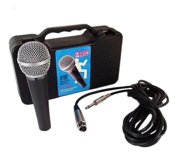 Microfone Csr Ht58a Dinâmico Vocal Profissional Estojo Cabo
