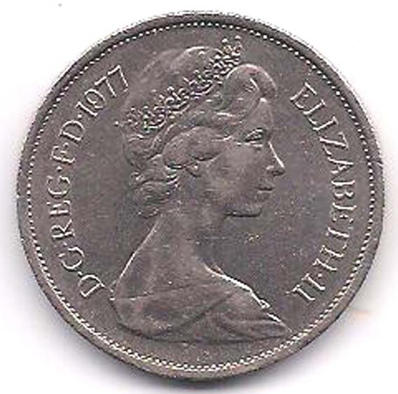 Moneda Inglaterra Elizabeth Il 10 Nuevos Peniques 1977