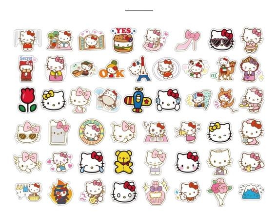 Hello Kitty 2 -100 Calcomanias Stickers Pvc Contra Agua