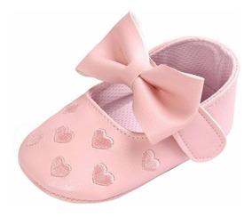 Sapatinho De Bebe Para Menina Rosa Com Laço 12 Cm