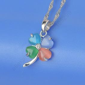 Colar Brincos Trevo Prata Esterlina Opalas Coloridas 96816