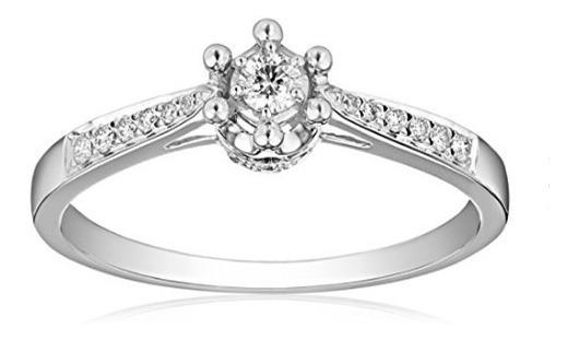Anillo De Compromiso Diamantes, Oro Blanco 10k.