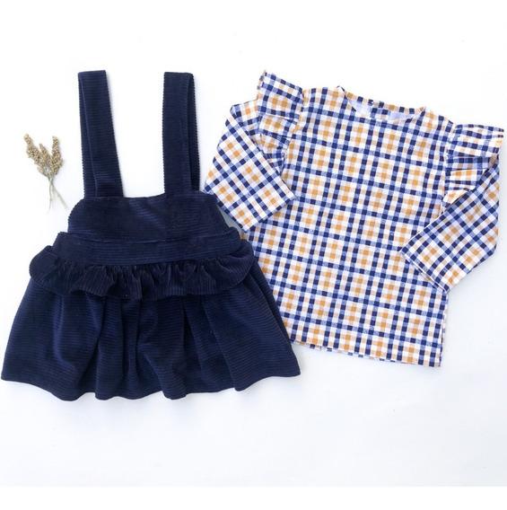 Jumper Niña, Azul Marino Y Blusa Cuadros Amarillo