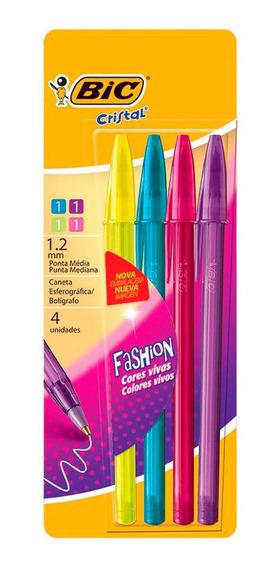 Lapiceras Bic Cristal Fashion Colores X 4 Un