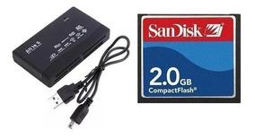 Cartão Memória Cf Compact Flash 2gb Sandisk + Leitor Usb
