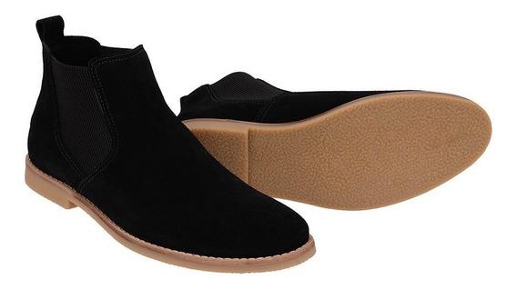 Botina Chelsea Boots Sir.w Camurça Preta 502 Em Couro Leg...