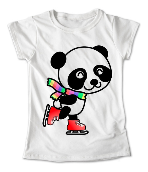 Blusa Oso Panda Colores Playera Estampado Patines 025