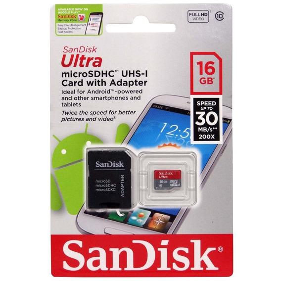 Cartão De Memória 16gb Micro Sd Classe 10 Sandisk Ultra