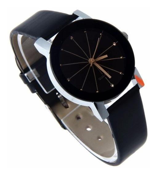 Relógio Feminino Pequeno Luxo Quartz Couro Preto