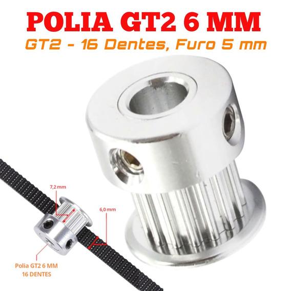 10 Polia Gt2 16 Dentes Furo 5mm Correia De 6mm 3d Impressora