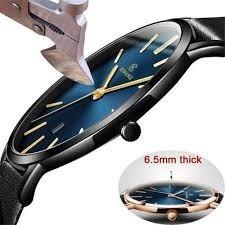 Relógio Masculino Ultra Fino Kemanqi ( Fundo Azul )original
