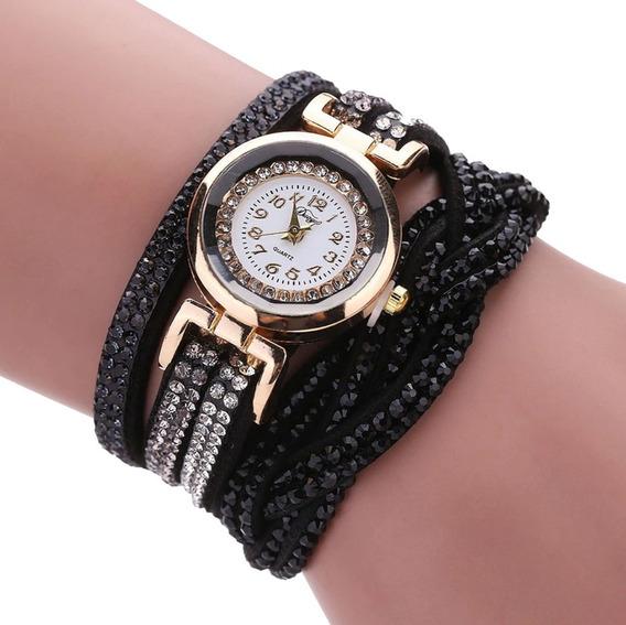 Relógio Feminino Pulseira Trançada Strass Moda Vintage Preto
