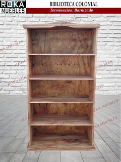Biblioteca Colonial 0.80x0.25x1.80 Librero Barnizado Roka