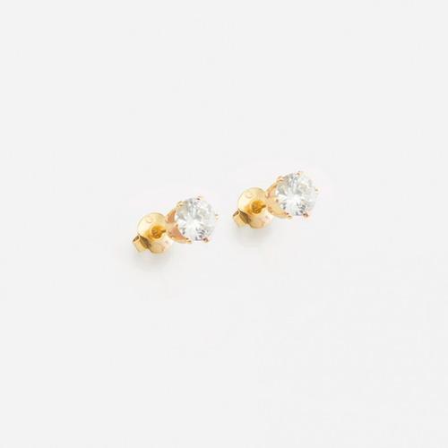 Imagen 1 de 1 de Aretes Laminado Oro Con Piedra Zircon Martillado Cristal