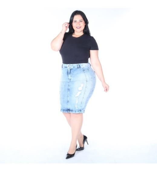 Saia Elegance Plus Size Jeans Lápis Com Detalhe Destroyer
